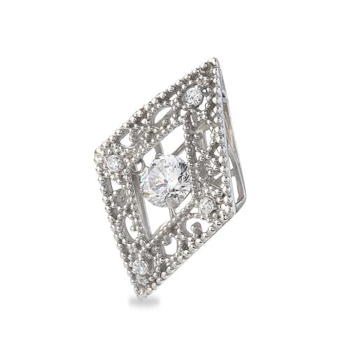 ペンダントトップ 18金 ホワイトゴールド 天然石 主石が揺れるメレ付きのダイヤ型透かしデザインペンダント 主石の直径約4.4mm ダンシングストーン ペンダントヘッドのみ|K18WG 18k 貴金属 ジュエリー レディース メンズ