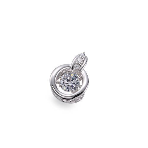主石の種類が選べる、高級感が漂う18金と天然石のペンダントトップ ペンダントトップ 18金 ホワイトゴールド 天然石 主石が揺れるメレ付きバチカンの丸型ペンダント 主石の直径約4.4mm ダンシングストーン ペンダントヘッドのみ|K18WG 18k 貴金属 ジュエリー レディース メンズ