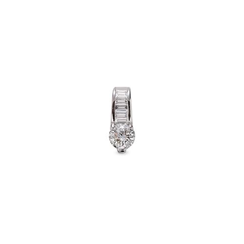 主石の種類が選べる、高級感が漂う18金と天然石のペンダントトップ ペンダントトップ 18金 ホワイトゴールド 天然石 バゲットメレ付きバチカンの一粒ペンダント 主石の直径約4.4mm 三本爪留め ペンダントヘッドのみ|K18WG 18k 貴金属 ジュエリー レディース メンズ