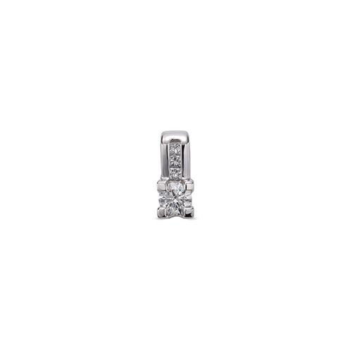ペンダントトップ 18金 ホワイトゴールド 天然石 バゲットメレ付きバチカンの一粒ペンダント 主石の直径約3.8mm 四角爪 四本爪留め ペンダントヘッドのみ|K18WG 18k 貴金属 ジュエリー レディース メンズ