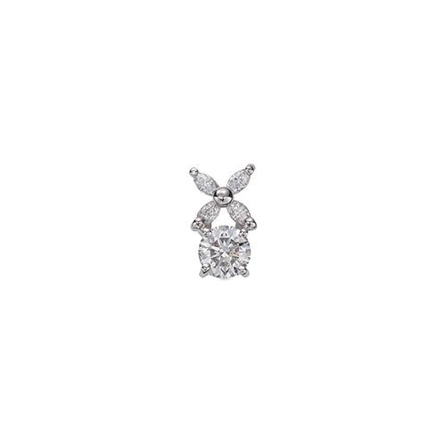 ペンダントトップ 18金 ホワイトゴールド 天然石 マーキスメレの花モチーフが付いた一粒ペンダント 主石の直径約4.4mm 四本爪留め ペンダントヘッドのみ|K18WG 18k 貴金属 ジュエリー レディース メンズ
