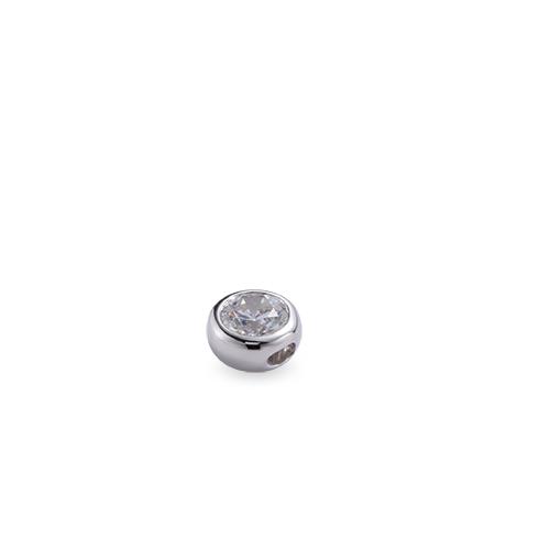 ペンダントトップ 18金 ホワイトゴールド 天然石 一粒スルーペンダント 主石の直径約3.8mm 伏せ込み ペンダントヘッドのみ K18WG 18k 貴金属 ジュエリー レディース メンズ