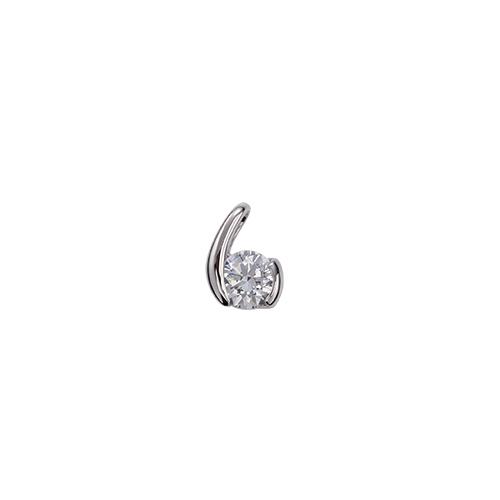 ペンダントトップ 18金 ホワイトゴールド 天然石 ウェーブモチーフの一粒ペンダント 主石の直径約5.2mm レール留め ペンダントヘッドのみ|K18WG 18k 貴金属 ジュエリー レディース メンズ