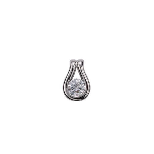 ペンダントトップ 18金 ホワイトゴールド 天然石 ティアドロップモチーフの一粒ペンダント 主石の直径約3.8mm レール留め ペンダントヘッドのみ K18WG 18k 貴金属 ジュエリー レディース メンズ