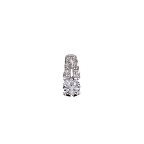 ペンダントトップ 18金 ホワイトゴールド 天然石 メレ付きバチカンの一粒ペンダント 主石の直径約4.4mm レール留め ペンダントヘッドのみ|K18WG 18k 貴金属 ジュエリー レディース メンズ