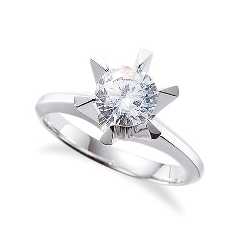 指輪 18金 ホワイトゴールド 天然石 一粒リング 主石の直径約3.8mm ソリティア 三角爪 六本爪留め|K18WG 18k 貴金属 ジュエリー レディース メンズ