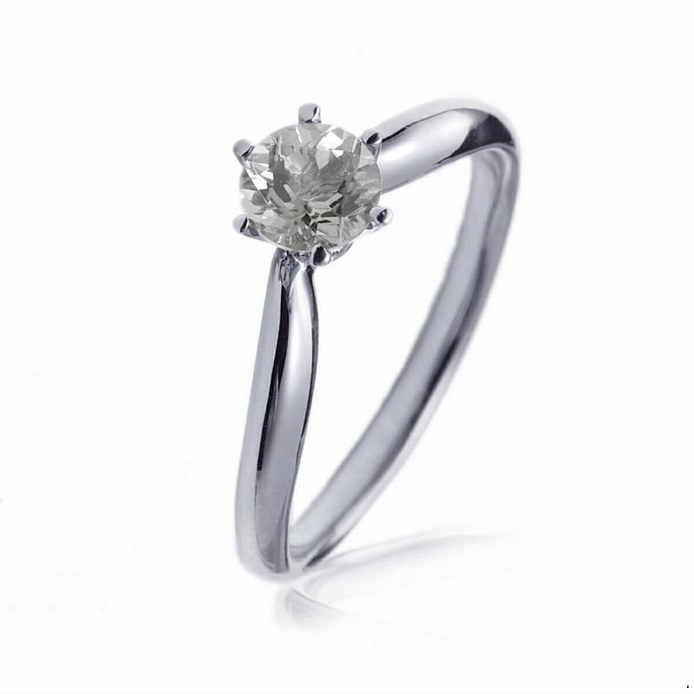 指輪 18金 ホワイトゴールド 天然石 一粒リング 主石の直径約4.4mm ソリティア V字 しぼり腕 六本爪留め|K18WG 18k 貴金属 ジュエリー レディース メンズ