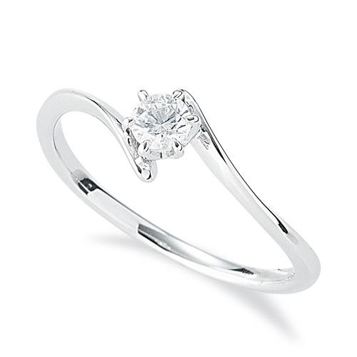 指輪 18金 ホワイトゴールド 天然石 一粒リング 主石の直径約3.4mm ソリティア ウェーブ 六本爪留め|K18WG 18k 貴金属 ジュエリー レディース メンズ
