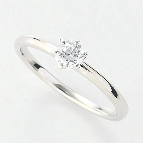 指輪 18金 ホワイトゴールド 天然石 一粒リング 主石の直径約3.8mm ソリティア 六本爪留め|K18WG 18k 貴金属 ジュエリー レディース メンズ