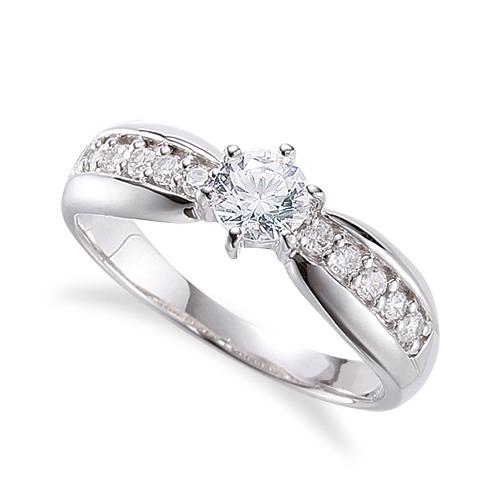 指輪 18金 ホワイトゴールド 天然石 サイド一文字リング 主石の直径約5.2mm 六本爪留め K18WG 18k 貴金属 ジュエリー レディース メンズ