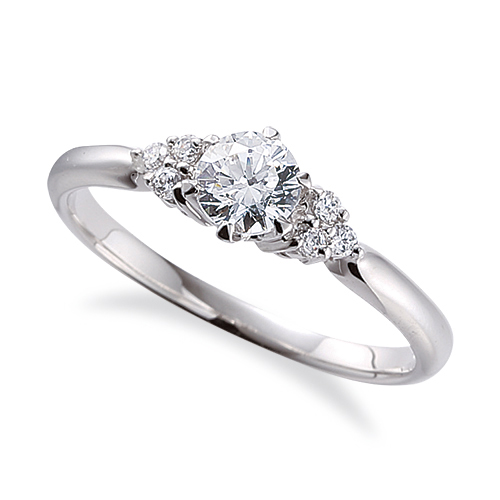 指輪 18金 ホワイトゴールド 天然石 サイドストーンリング 主石の直径約4.1mm 六本爪留め K18WG 18k 貴金属 ジュエリー レディース メンズ
