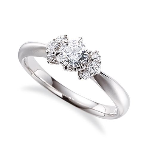 指輪 18金 ホワイトゴールド 天然石 サイドストーンリング 主石の直径約4.4mm 六本爪留め|K18WG 18k 貴金属 ジュエリー レディース メンズ