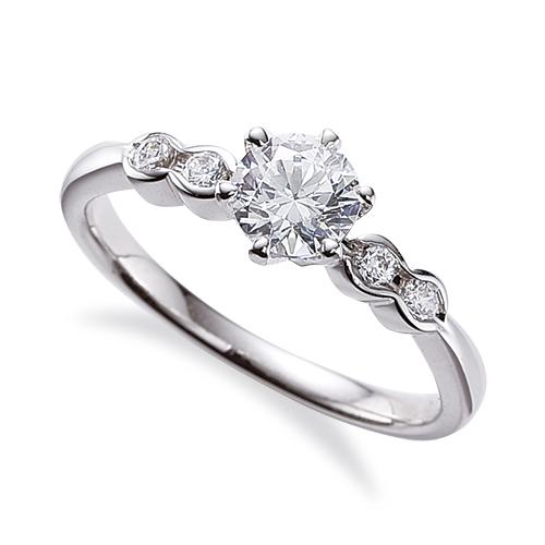 指輪 18金 ホワイトゴールド 天然石 サイドストーンリング 主石の直径約5.2mm 六本爪留め|K18WG 18k 貴金属 ジュエリー レディース メンズ