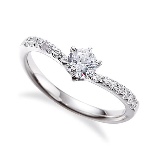 指輪 18金 ホワイトゴールド 天然石 サイド一文字リング 主石の直径約4.4mm V字 六本爪留め|K18WG 18k 貴金属 ジュエリー レディース メンズ