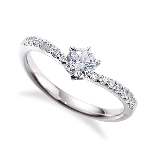 指輪 18金 ホワイトゴールド 天然石 サイド一文字リング 主石の直径約5.2mm V字 六本爪留め|K18WG 18k 貴金属 ジュエリー レディース メンズ