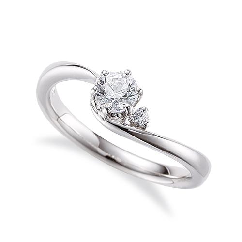 指輪 18金 ホワイトゴールド 天然石 サイドストーンリング 主石の直径約5.2mm ウェーブ 六本爪留め K18WG 18k 貴金属 ジュエリー レディース メンズ