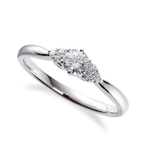 指輪 18金 ホワイトゴールド 天然石 サイドストーンリング 主石の直径約4.1mm しぼり腕 六本爪留め|K18WG 18k 貴金属 ジュエリー レディース メンズ
