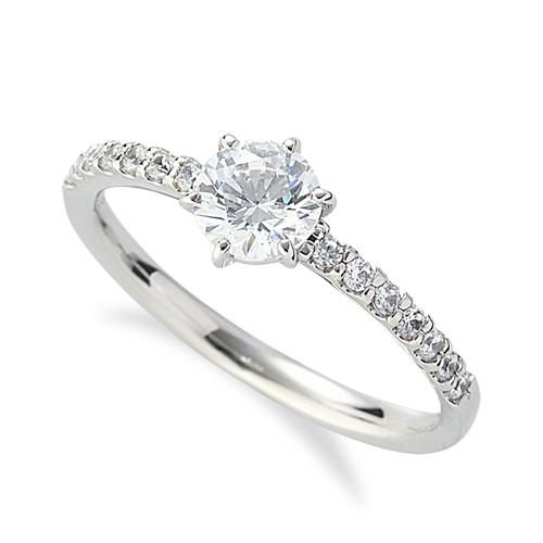 指輪 18金 ホワイトゴールド 天然石 サイド一文字リング 主石の直径約5.2mm 六本爪留め|K18WG 18k 貴金属 ジュエリー レディース メンズ