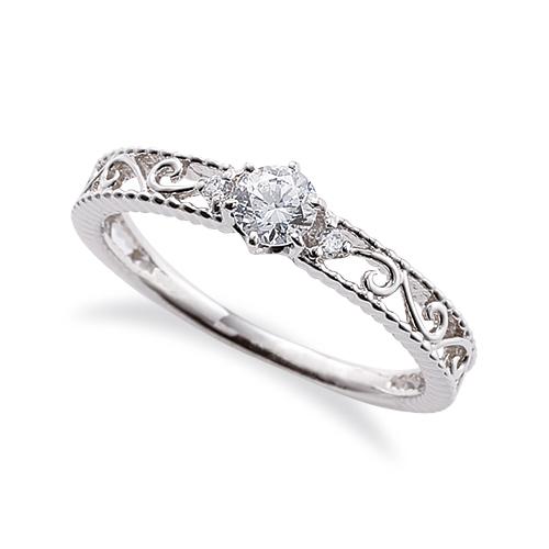 指輪 18金 ホワイトゴールド 天然石 ミル打ちと透かしのサイドストーンリング 主石の直径約3.8mm 六本爪留め|K18WG 18k 貴金属 ジュエリー レディース メンズ