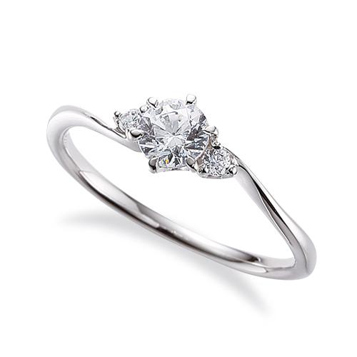 指輪 18金 ホワイトゴールド 天然石 サイドストーンリング 主石の直径約4.4mm ウェーブ 六本爪留め|K18WG 18k 貴金属 ジュエリー レディース メンズ