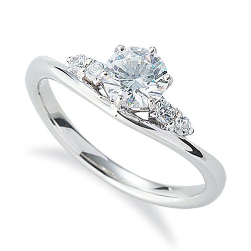 指輪 18金 ホワイトゴールド 天然石 サイドストーンリング 主石の直径約5.2mm V字 六本爪留め|K18WG 18k 貴金属 ジュエリー レディース メンズ
