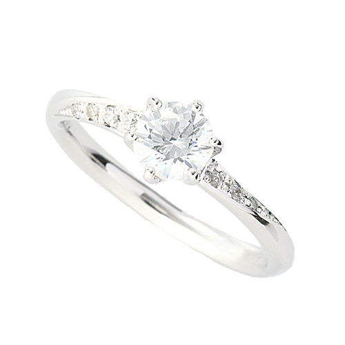 指輪 18金 ホワイトゴールド 天然石 サイド一文字リング 主石の直径約5.2mm ウェーブ 六本爪留め K18WG 18k 貴金属 ジュエリー レディース メンズ