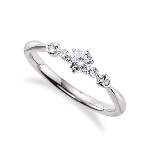 指輪 18金 ホワイトゴールド 天然石 サイドストーンリング 主石の直径約3.8mm しぼり腕 六本爪留め|K18WG 18k 貴金属 ジュエリー レディース メンズ