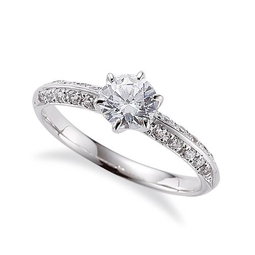 指輪 18金 ホワイトゴールド 天然石 サイド二文字リング 主石の直径約5.2mm 六本爪留め|K18WG 18k 貴金属 ジュエリー レディース メンズ
