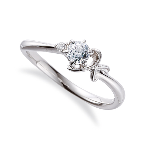指輪 18金 ホワイトゴールド 天然石 K イニシャルモチーフのサイドストーンリング 主石の直径約3.8mm ウェーブ 六本爪留め|K18WG 18k 貴金属 ジュエリー レディース メンズ
