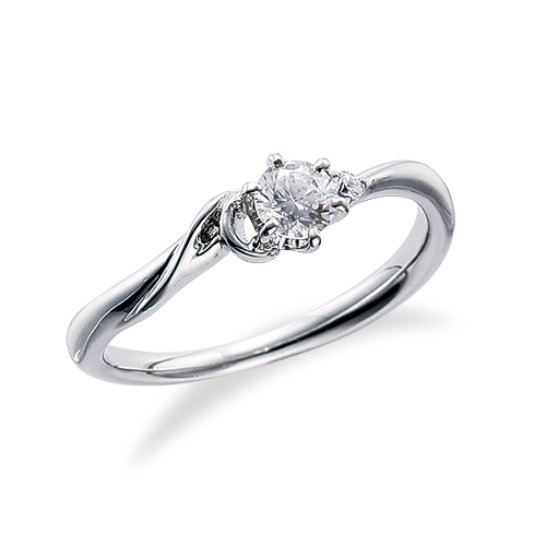 指輪 18金 ホワイトゴールド 天然石 A イニシャルモチーフのサイドストーンリング 主石の直径約3.8mm ウェーブ 六本爪留め|K18WG 18k 貴金属 ジュエリー レディース メンズ