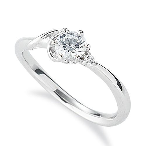 指輪 18金 ホワイトゴールド 天然石 A イニシャルモチーフのサイドストーンリング 主石の直径約4.4mm ウェーブ 六本爪留め|K18WG 18k 貴金属 ジュエリー レディース メンズ