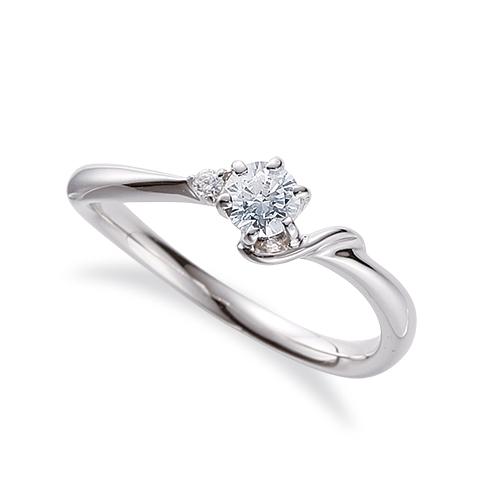 指輪 18金 ホワイトゴールド 天然石 S イニシャルモチーフのサイドストーンリング 主石の直径約3.8mm ウェーブ 六本爪留め K18WG 18k 貴金属 ジュエリー レディース メンズ