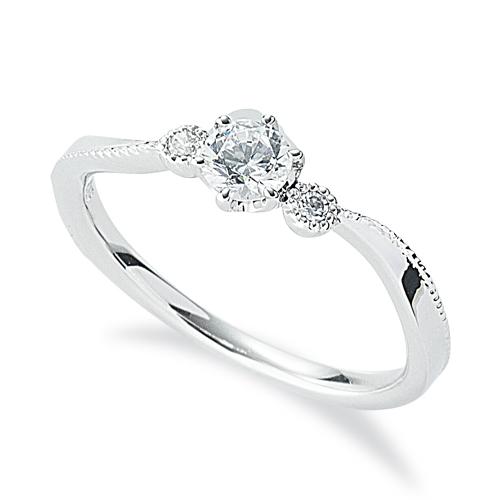 指輪 18金 ホワイトゴールド 天然石 ミル打ちラインのサイドストーンリング 主石の直径約3.8mm ウェーブ 六本爪留め|K18WG 18k 貴金属 ジュエリー レディース メンズ