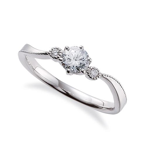指輪 18金 ホワイトゴールド 天然石 ミル打ちラインのサイドストーンリング 主石の直径約4.4mm ウェーブ 六本爪留め K18WG 18k 貴金属 ジュエリー レディース メンズ