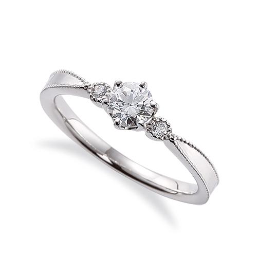 指輪 18金 ホワイトゴールド 天然石 ミル打ちラインのサイドストーンリング 主石の直径約4.4mm 六本爪留め|K18WG 18k 貴金属 ジュエリー レディース メンズ