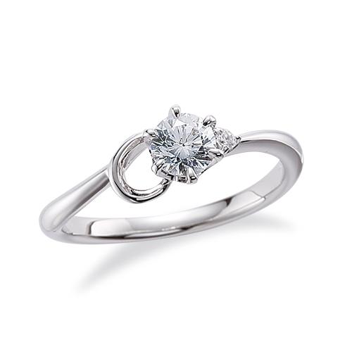 指輪 18金 ホワイトゴールド 天然石 C イニシャルモチーフのサイドストーンリング 主石の直径約4.4mm ウェーブ 六本爪留め|K18WG 18k 貴金属 ジュエリー レディース メンズ