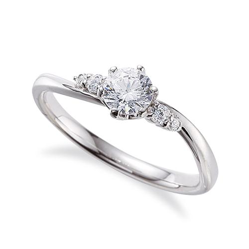 指輪 18金 ホワイトゴールド 天然石 サイドストーンリング 主石の直径約4.4mm ウェーブ 六本爪留め K18WG 18k 貴金属 ジュエリー レディース メンズ