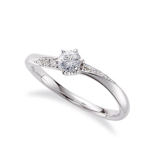 指輪 18金 ホワイトゴールド 天然石 サイド一文字リング 主石の直径約3.8mm ウェーブ 六本爪留め|K18WG 18k 貴金属 ジュエリー レディース メンズ