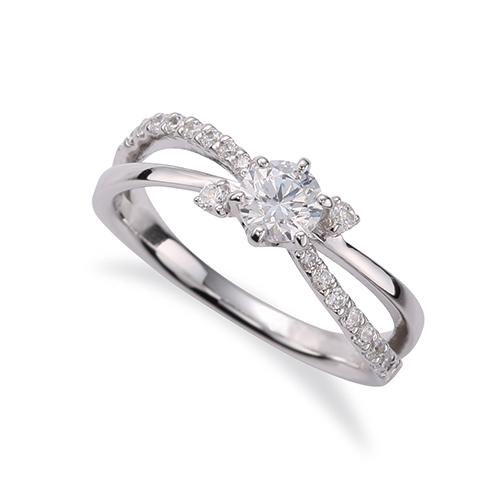 指輪 18金 ホワイトゴールド 天然石 サイドストーンリング 主石の直径約3.8mm ウェーブ 割り腕 六本爪留め|K18WG 18k 貴金属 ジュエリー レディース メンズ