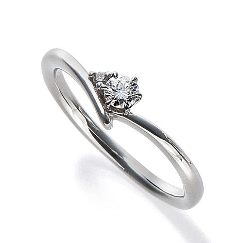 指輪 18金 ホワイトゴールド 天然石 サイドストーンリング 主石の直径約3.0mm V字 六本爪留め|K18WG 18k 貴金属 ジュエリー レディース メンズ