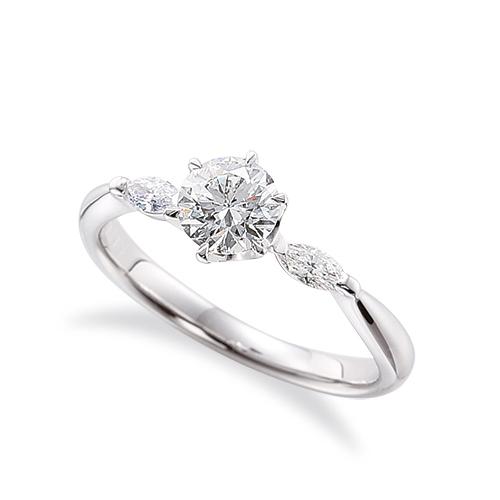 指輪 18金 ホワイトゴールド 天然石 マーキスメレのサイドストーンリング 主石の直径約5.2mm 六本爪留め|K18WG 18k 貴金属 ジュエリー レディース メンズ