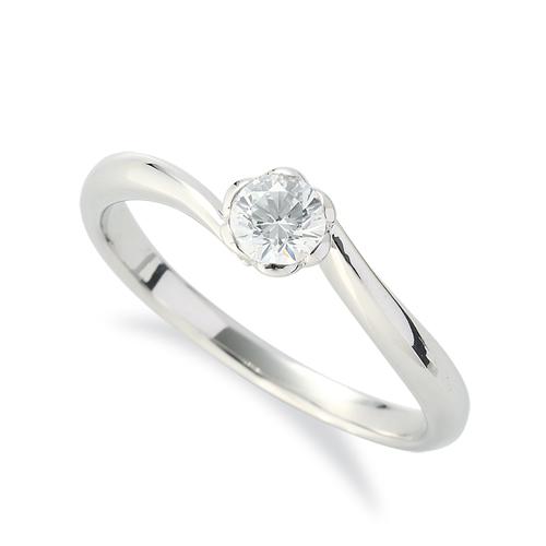 指輪 18金 ホワイトゴールド 天然石 花モチーフの一粒リング 主石の直径約3.8mm ソリティア ウェーブ レール留め|K18WG 18k 貴金属 ジュエリー レディース メンズ