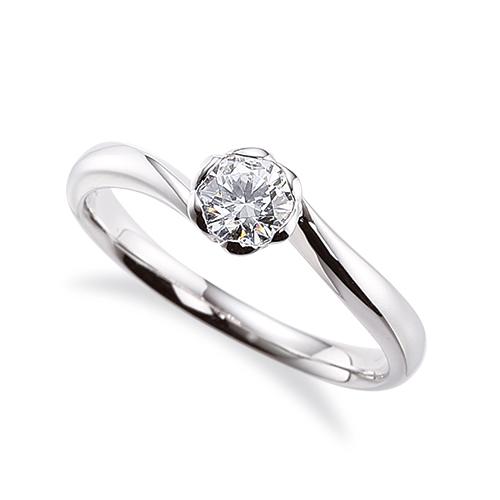 指輪 18金 ホワイトゴールド 天然石 花モチーフの一粒リング 主石の直径約4.4mm ソリティア ウェーブ レール留め K18WG 18k 貴金属 ジュエリー レディース メンズ