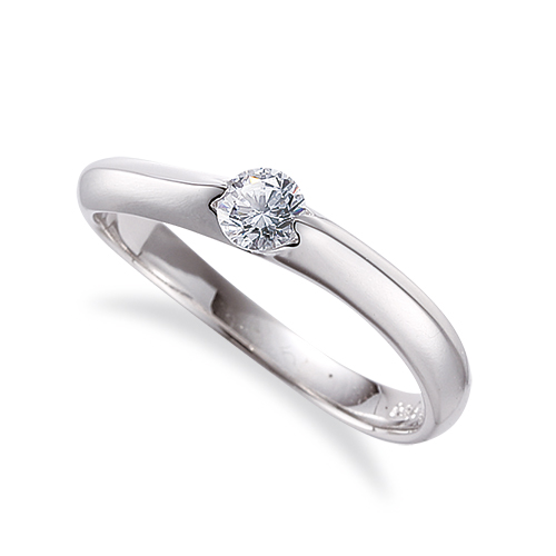 指輪 18金 ホワイトゴールド 天然石 一粒リング 主石の直径約3.8mm ソリティア ウェーブ 二本爪留め|K18WG 18k 貴金属 ジュエリー レディース メンズ