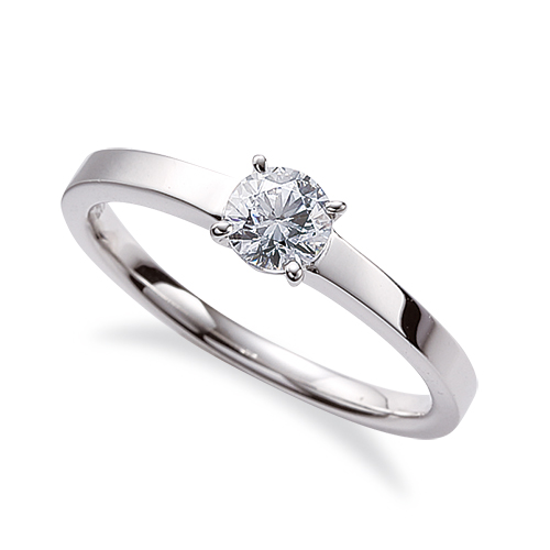 指輪 18金 ホワイトゴールド 天然石 一粒リング 主石の直径約4.4mm ソリティア 平打ち 四本爪留め|K18WG 18k 貴金属 ジュエリー レディース メンズ