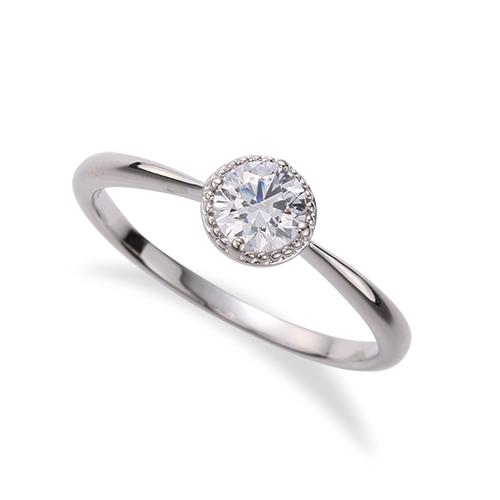 指輪 18金 ホワイトゴールド 天然石 花モチーフの一粒リング 主石の直径約4.4mm ソリティア 四本爪留め|K18WG 18k 貴金属 ジュエリー レディース メンズ