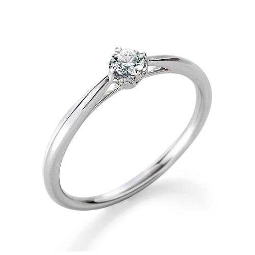 指輪 18金 ホワイトゴールド 天然石 主石周りミル打ちの一粒リング 主石の直径約3.0mm ソリティア しぼり腕 四本爪留め K18WG 18k 貴金属 ジュエリー レディース メンズ