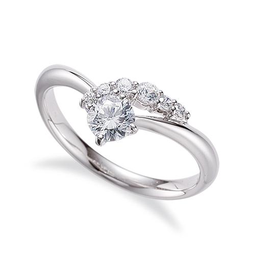 指輪 18金 ホワイトゴールド 天然石 サイドストーンリング 主石の直径約5.2mm V字 四本爪留め|K18WG 18k 貴金属 ジュエリー レディース メンズ