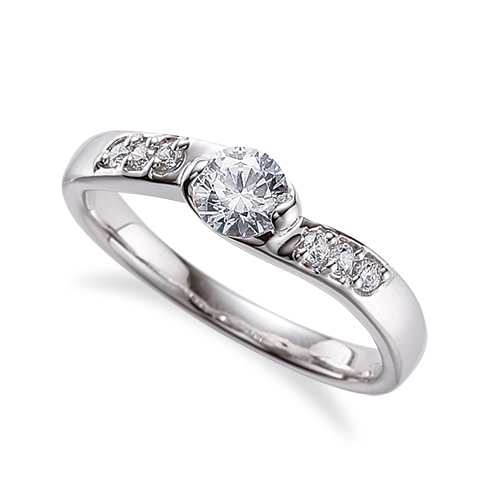指輪 18金 ホワイトゴールド 天然石 サイドストーンリング 主石の直径約4.4mm ウェーブ レール留め|K18WG 18k 貴金属 ジュエリー レディース メンズ