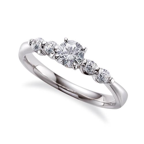 指輪 18金 ホワイトゴールド 天然石 サイドストーンリング 主石の直径約4.4mm 四本爪留め|K18WG 18k 貴金属 ジュエリー レディース メンズ
